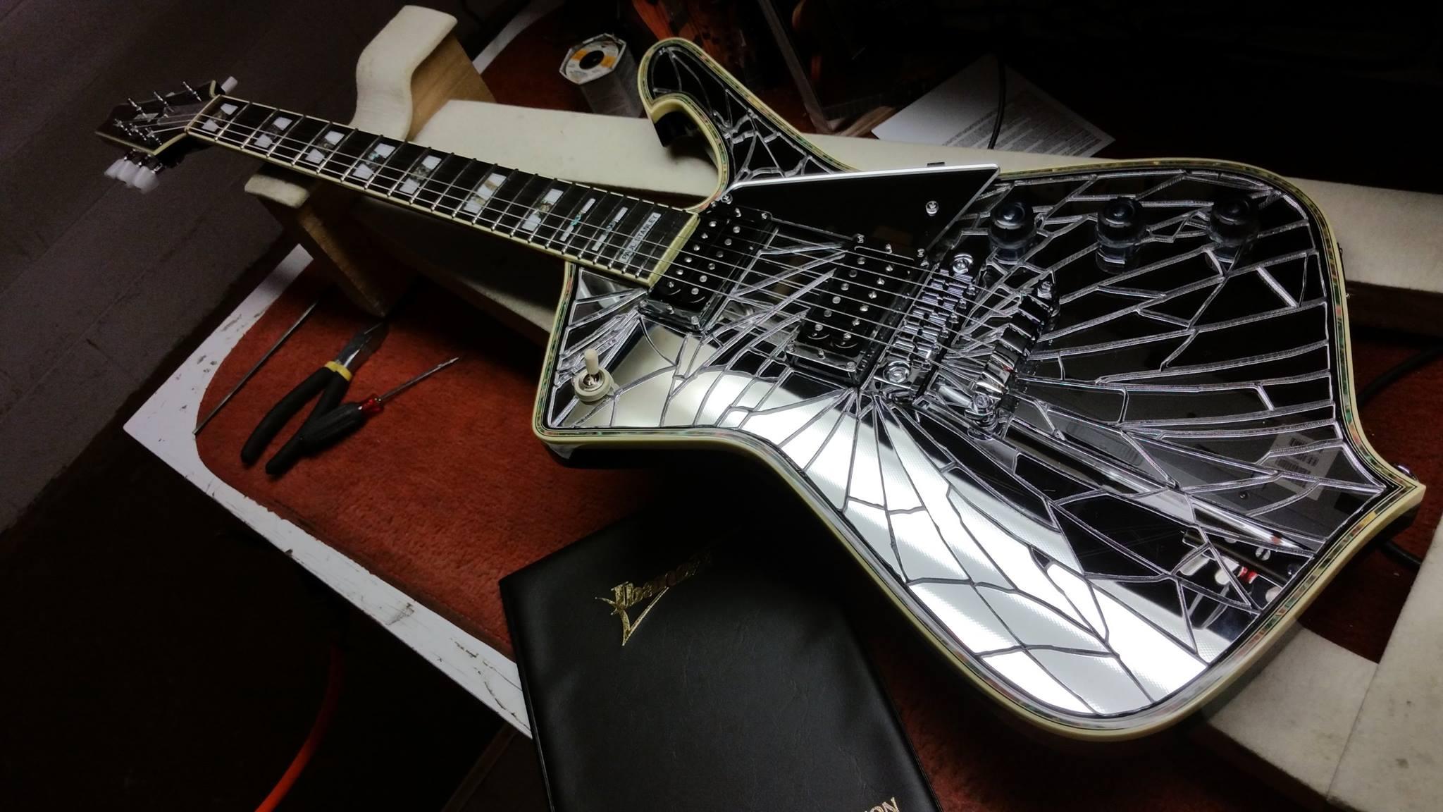 new signature model cracked mirror guitar paul stanley. Black Bedroom Furniture Sets. Home Design Ideas